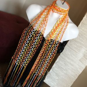 Yellow Orange And White Knot Scarf